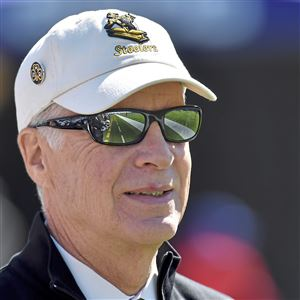 Steelers president Art Rooney II watches as his team warms up to take on the Ravens Sunday, October 1, 2017 at M&T Bank Stadium in Baltimore.