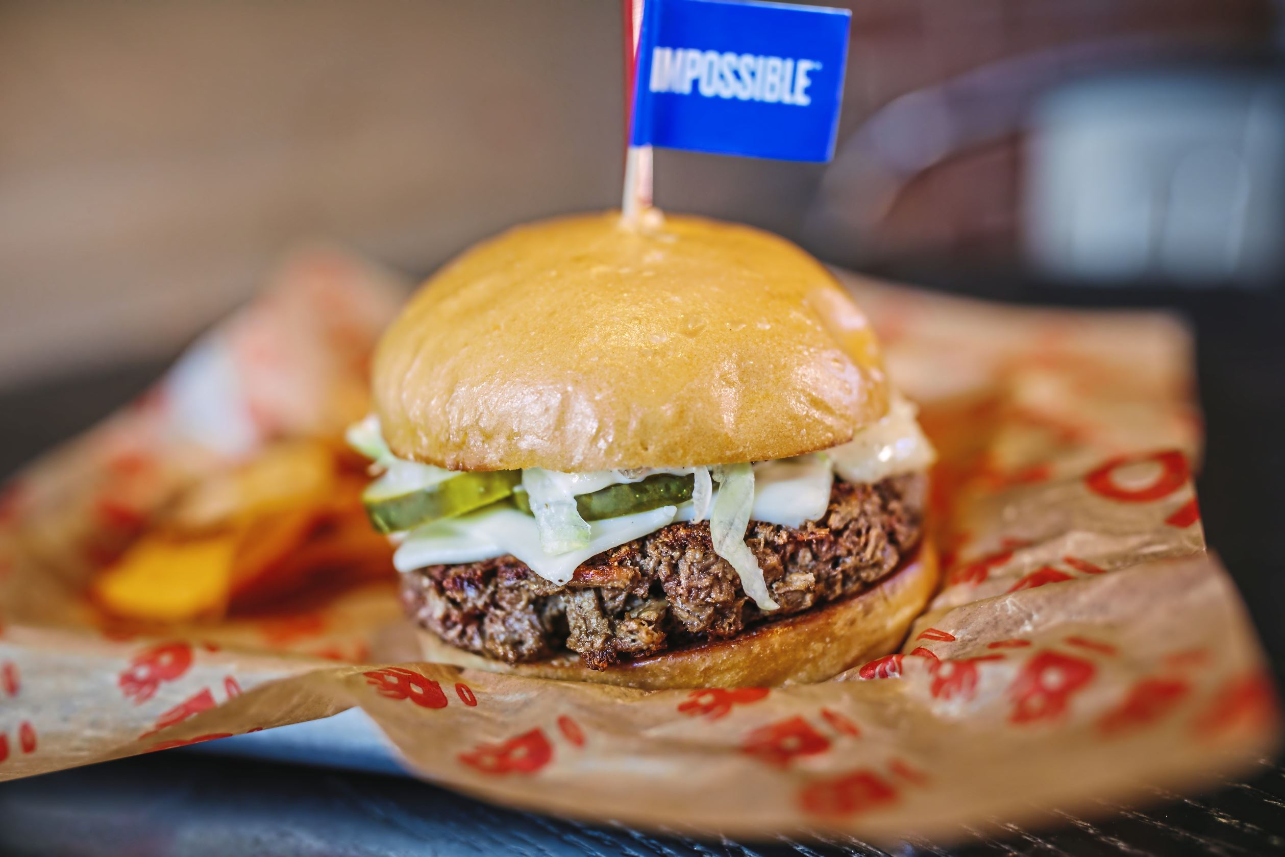 20171002arImpossibleBurg04-3 An Impossible Burger at Burgatory on Monday, October 2, 2017 on the North Side. The restaurant is the only one in the state to sell the meatless burger, starting Oct. 2. (Andrew Rush/Post-Gazette)