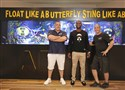 "Antonio Brown, Wayde King and Brett Raymer pose in front of the finished Steelers-themed tank that King and Raymer created for Brown on Animal Planet's ""Tanked."""