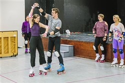 "Olivia Vadnais, left, as Kira/Clio, and Reed Allen Worth, as Sonny Malone practice for the new CLO Cabaret production of ""Xanadu""  at Pittsburgh CLO Academy. The musical comedy opens Oct. 12 at the Cabaret at Theater Square, Downtown."