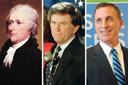 Political sex scandals are nothing new, whether it be, from left, founding father Alexander Hamilton, 1980s hopeful Gary Hart, or Upper St. Clair Republican Tim Murphy.