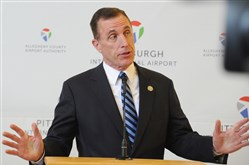 U.S. Rep. Tim Murphy addresses airport officials and community leaders on Aug. 28, 2017.