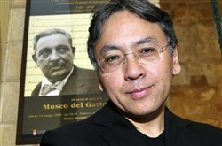 "In this 2009 file photo, author Kazuo Ishiguro poses for photographers before receiving the ""Giuseppe Tomasi di Lampedusa"" prize for literature, in Santa Margherita Belice, near Palermo, Sicily."
