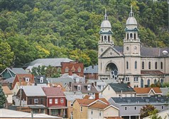 St. Mary's Catholic Church towers over other homes and businesses Friday in Sharpsburg.