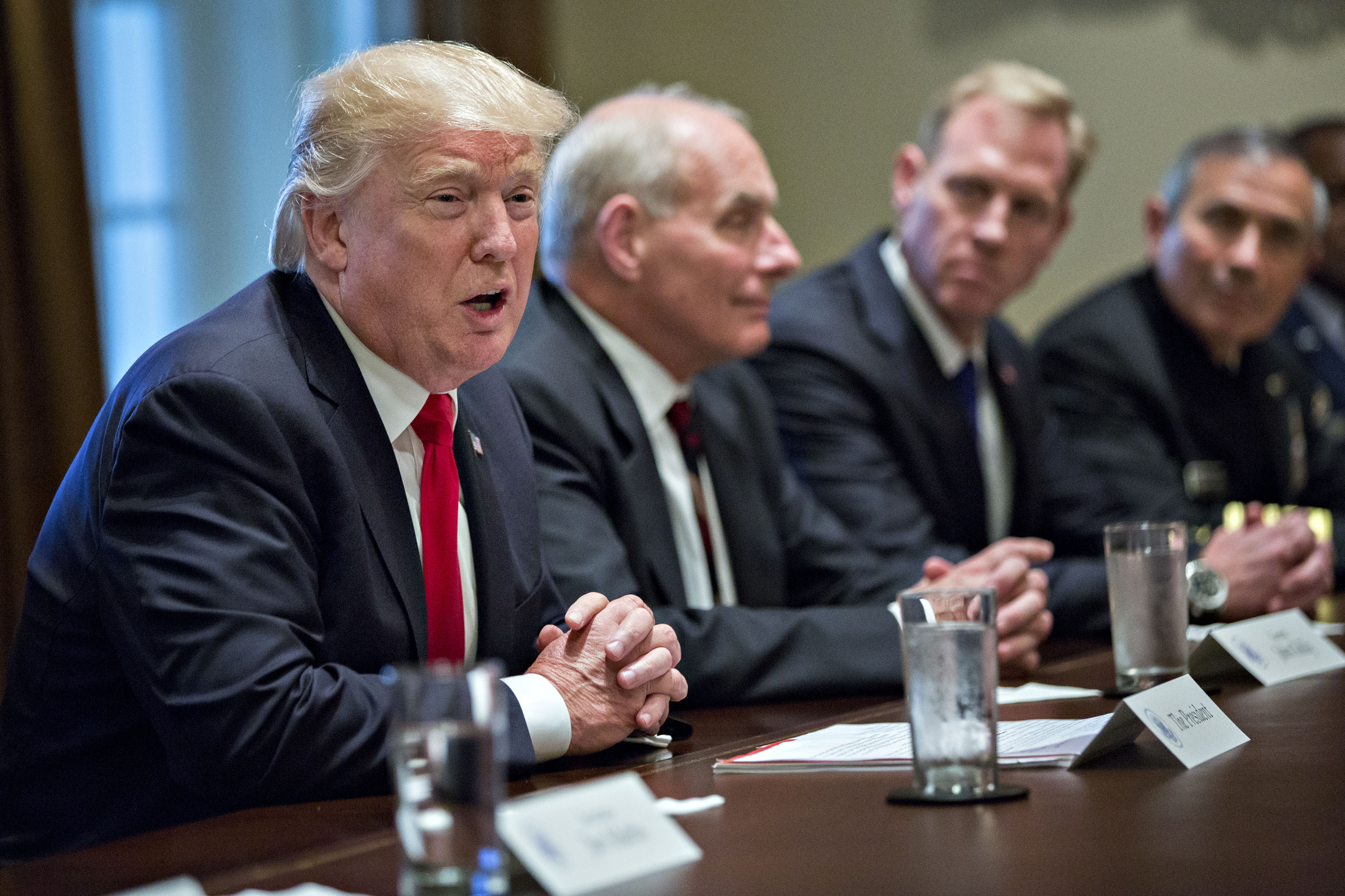 WEB President Trump Participates In Briefing With Senior Military Leaders-18 President Donald Trump speaks at a briefing with senior military leaders in the Cabinet Room of the White House on Oct. 5 in Washington.