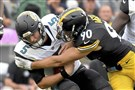 T.J. Watt sacks Jaguars quarterback Blake Bortles Oct. 8 at Heinz Field. The Steelers were blown out by Jacksonville, one of several surprising results early in the NFL season.