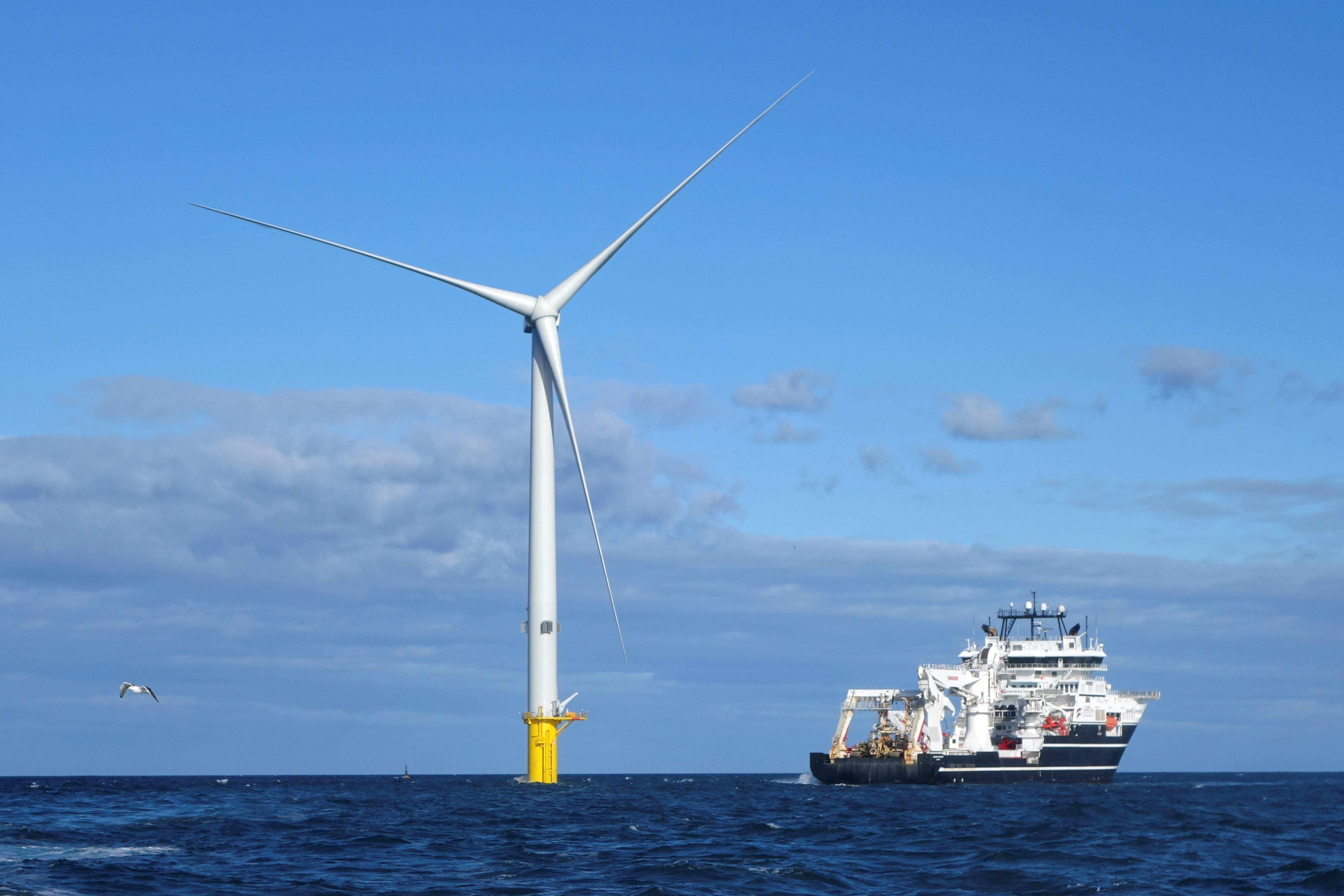 WEB BRITAIN-ENERGY-ELECTRICITY-WIND-TURBINE In this Oct. 5 file photo, turbines at The Blyth Offshore Demonstrator Wind Farm built by EDF Energy Renewables are seen off the coast of Blyth, north of Newcastle-upon-Tyne, in northeast England.