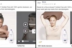 "This undated combo of images made from video shows a Dove body wash ad. Dove is facing heat for the ad and said Saturday, Oct. 7, 2017, that  it regrets the offense caused by the ad. The company said it ""missed the mark in representing women of color thoughtfully.""  (Twitter via AP)"