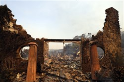 The entrance to the fire-ravaged Signorello Estate winery is seen Oct. 9 in Napa, Calif.