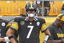 Steelers quarterback Ben Roethlisberger stands on the sideline against the Jaguars late in the fourth quarter on Oct. 8. He threw five interceptions.