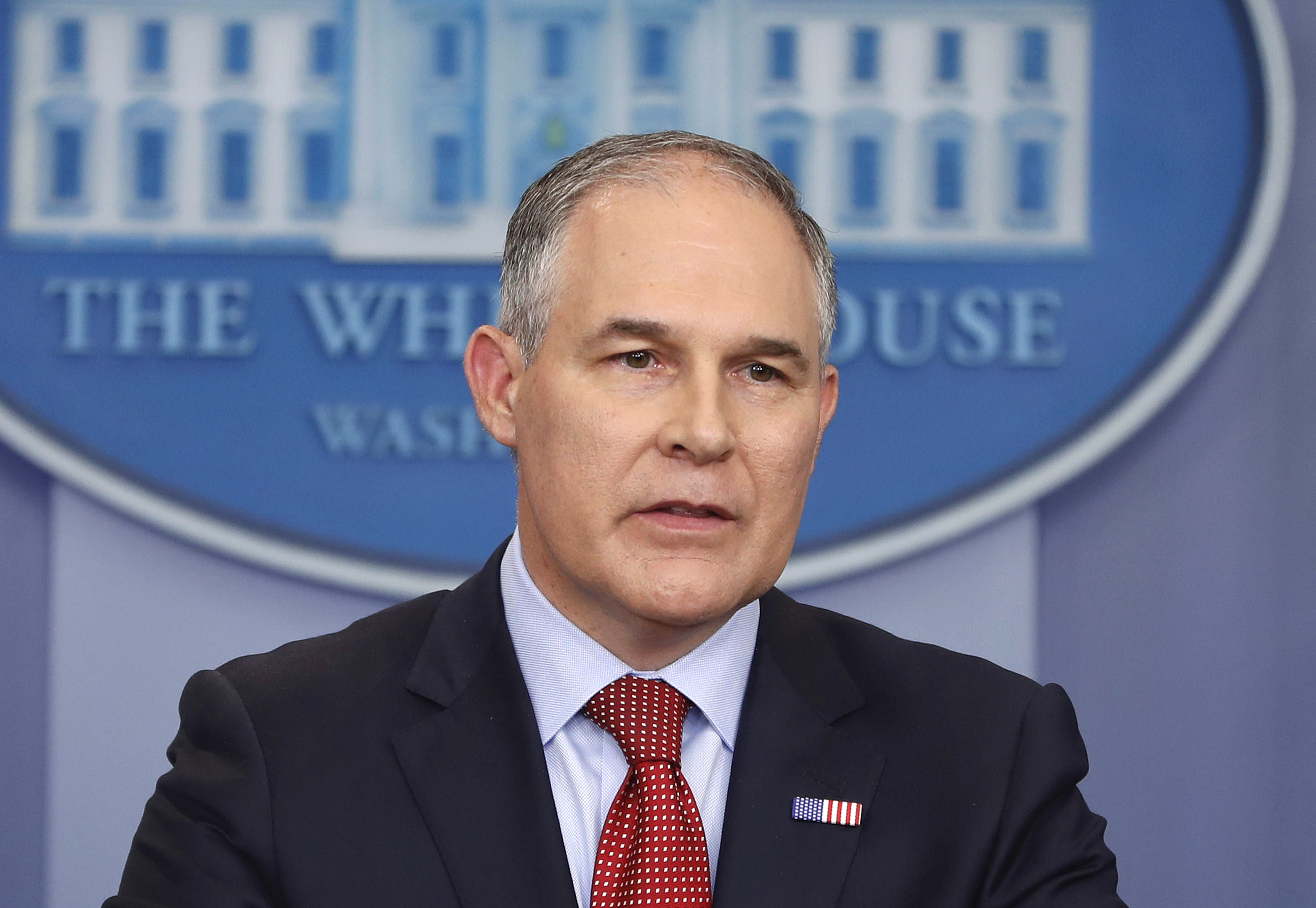 "Trump Climate Plan-1 FILE - In this June 2, 2017 file photo, EPA Administrator Scott Pruitt speaks in the Brady Press Briefing Room of the White House in Washington. Speaking in Kentucky on Monday, Pruitt said he will sign a proposed rule on Tuesday ""to withdraw the so-called clean power plan of the past administration."" (AP Photo/Pablo Martinez Monsivais, File)"