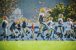 Pitt football players run a drill during practice on Tuesday.