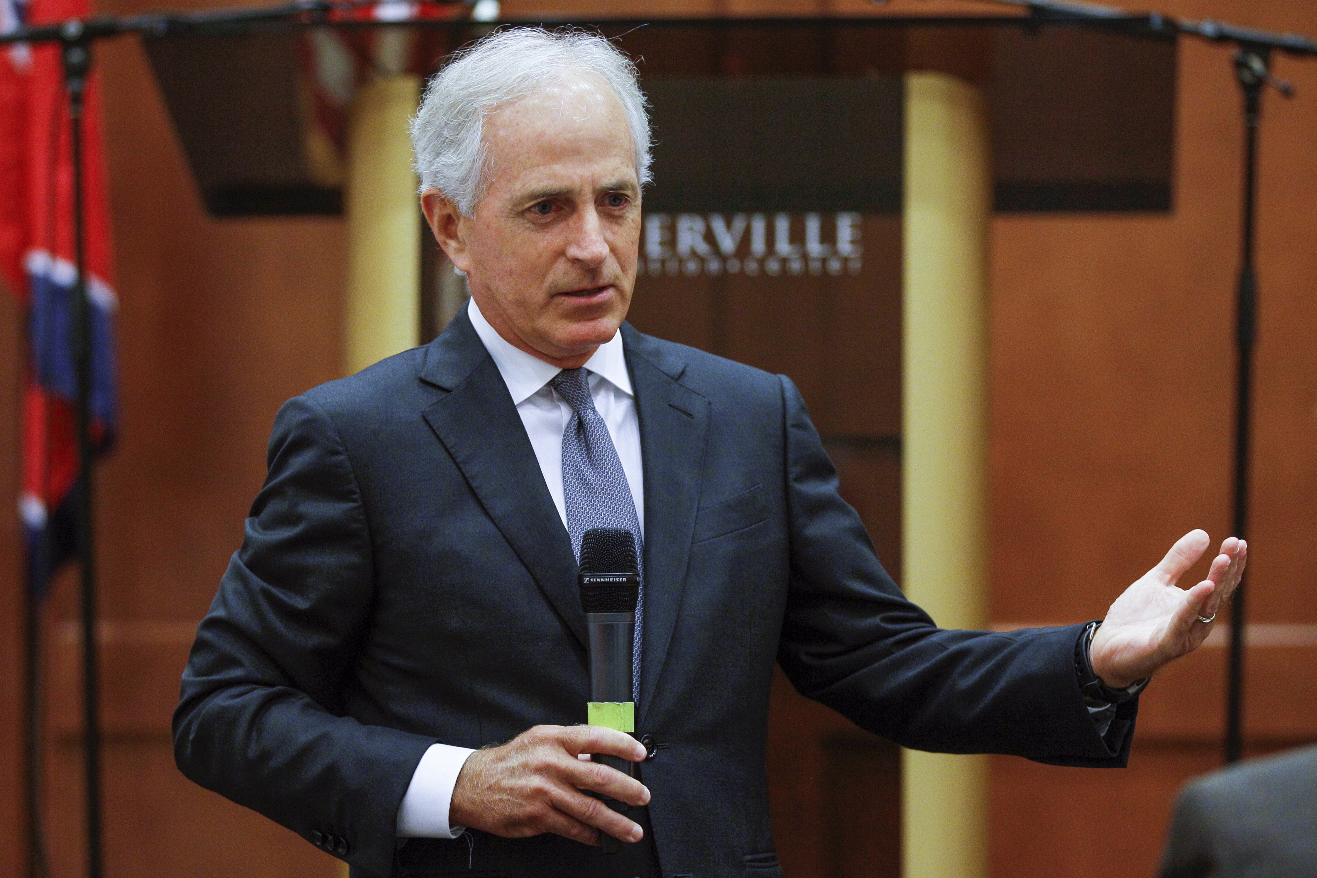 Senate Corker Unplugged FILE - In this Aug. 16, 2017, file photo, Sen. Bob Corker, R-Tenn., speaks to the Sevier County Chamber of Commerce in Sevierville, Tenn. Always one to speak his mind, Corker's new free agent status should make President Donald Trump and the GOP very nervous. The two-term Tennessee Republican isn't seeking re-election. And that gives him even more elbow room to say what he wants and vote how he pleases over the next 15 months as Trump and the party's top leaders on Capitol Hill struggle to get their agenda on track (AP Photo/Erik Schelzig, File)