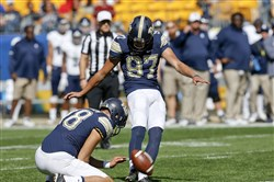 Redshirt freshman Pitt kicker Alex Kessman connects on an extra point two weeks ago vs. Rice at Heinz Field, where he's perfect on those but 0-fer on field-goal attempts.