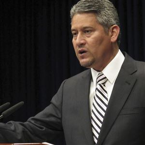 In this Oct. 20, 2016 file photo Pennsylvania's top elections official, Secretary of the Commonwealth Pedro Cortes, speaks during a news conference in Harrisburg, Pa.