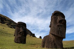 Moai, or Easter Island's enigmatic statues, at the Rano Raraku quarry on Easter Island in 2013.