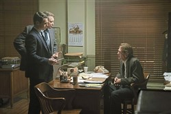 "Jonathan Groff, left,  and Holt McCallany talk shop with Thomas Francis Murphy in ""Mindhunter."""