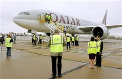 Qatar Airways Cargo's Boeing 777 sits on the tarmac near the Cargo Area at Pittsburgh International Airport for their first delivery to the Airport on Oct. 12, 2017.