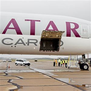 Qatar Airways Cargo's Boeing 777 sits near the cargo area at Pittsburgh International Airport on Oct. 12.