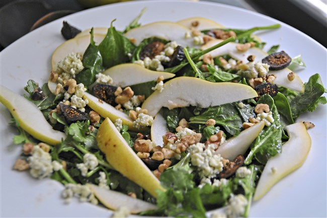 Fig, pear and walnut salad