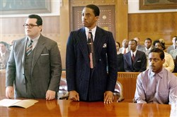 "The cast of ""Marshall"" includes, from left, Josh Gad, Chadwick Boseman."