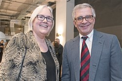 Greater Pittsburgh Community Food Bank CEO Lisa Scales and Pittsburgh Post-Gazette Executive Editor David Shribman.