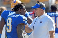Pitt head coach Pat Narduzzi talks with Jordan Whitehead in the third quarter against N.C. State in October at Heinz Field.