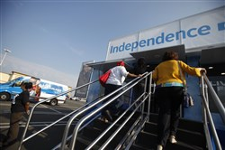 This Oct. 4, 2013, file photo shows an Independence Blue Cross sign-up spot in Philadelphia.