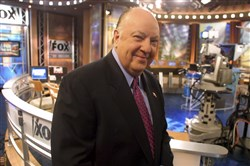 This 2002 file photo shows Roger Ailes, the co-founder of Fox News, during a broadcast from the network's studios in New York.