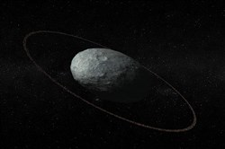 An illustration of the dwarf planet Haumea and its ring system. It was seen through telescopes in Europe on Jan. 21.