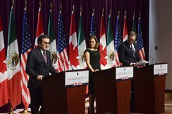 In this Sept. 27, 2017, news conference on the NAFTA negotiations in Ottawa, from left, Mexico's Secretary of Economy Ildefonso Guajardo Villarreal, Canada's Foreign Affairs Minister Chrystia Freeland and U.S. Trade Representative Robert Lighthizer.