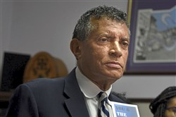 Tim Stevens, chairman and CEO of the Black Political Empowerment Project, discusses Leon Ford's case at the organization's Hill District office on Monday.