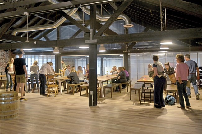 The dining area at the Threadbare Cider House in Spring Garden during a soft opening for friends and family on Oct. 14.