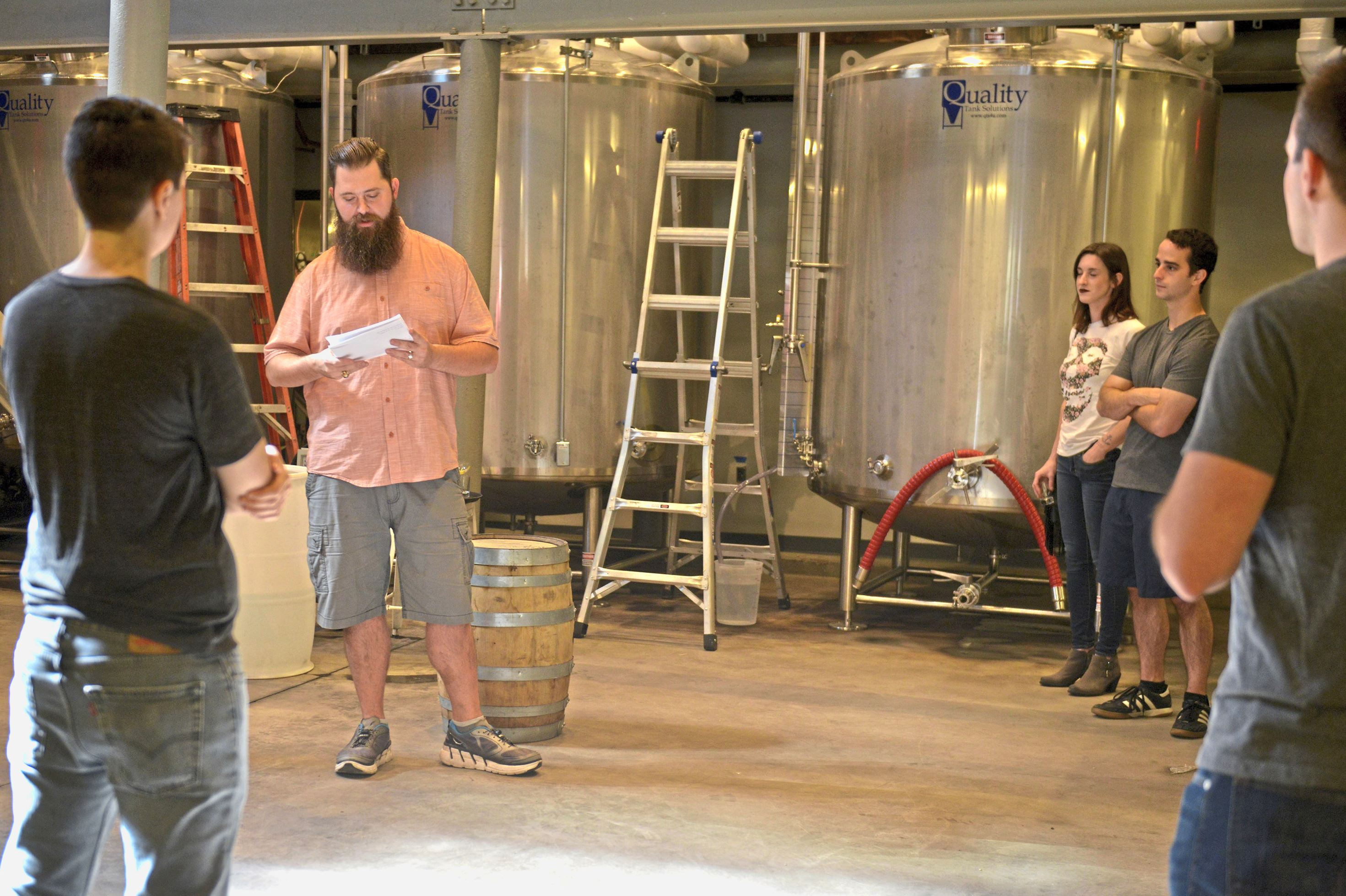 20171014ppThreadbare2MAG Justin Williams, a volunteer tour guide, describes the history and production process at Threadbare Cider and Mead in Spring Garden.