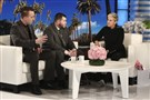 "In this Oct. 17, 2017, file photo released by Warner Bros., Stephen Schuck, left, and Jesus Campos appear with host Ellen Degeneres during a taping of ""The Ellen DeGeneres Show"" at the Warner Bros. lot in Burbank, Calif."