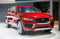 The 2017 Jaguar F Pace cuts a handsome profile while offering fun handling and quick acceleration.