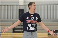 Robert Morris coach Andy Toole gives instructions during practice Tuesday in Moon.