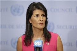 In this Aug. 25, 2017, file photo, United States Ambassador to the United Nations Nikki Haley speaks to reporters at U.N. headquarters.