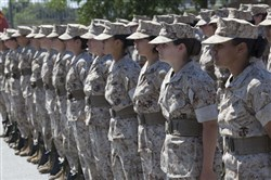 Female recruits practice for their final drill aboard the Marine Corps Recruit Depot, Parris Island, S.C.