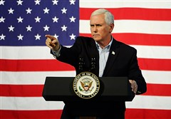Vice President Mike Pence speaks during a campaign rally for gubernatorial candidate Ed Gillespie, R-Va., at the Washington County Fairgrounds on October 14, 2017, in Abingdon, Virginia.
