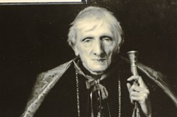 This file photo was taken of a photograph of Cardinal John Henry Newman at an exhibit of his personal effects and photographs depicting him at the National Institute for Newman Studies on Monday, Oct. 12, 2015.