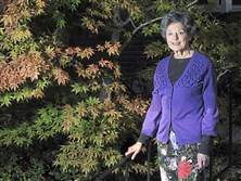 Ina Block poses for a portrait by a 'Bloodgood' Japanese maple in her Mt. Lebanon garden. She is the small garden winner of the PG's Great Gardens Contest.