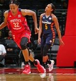 Shatori Walker-Kimbrough of the Washington Mystics dribbles the ball against the Connecticut Sun during a WNBA game on Aug. 29.