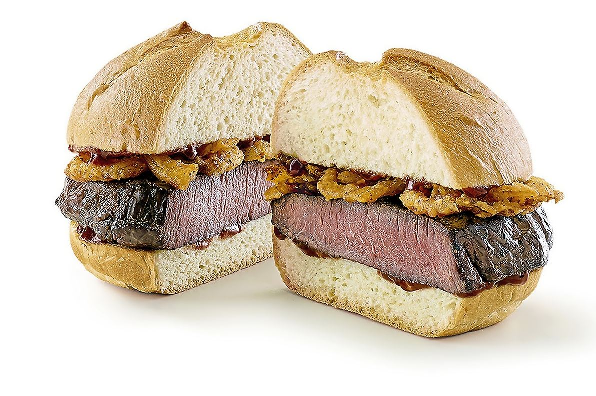 NS_ARBYS_venison_arby_sandwich-1 Arby's venison sandwich features a thick-cut. slow-roasted venison steak and crispy onions topped with juniper berry sauce.