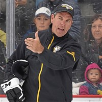 Penguins coach Mike Sullivan gives instructions during a practice earlier this season. (Peter Diana/Post-Gazette)
