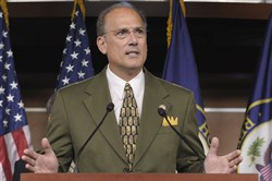 In this Sept. 23, 2011, file photo, Rep. Tom Marino, R-Pa., speaks during a news conference on Capitol Hill in Washington.