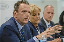 David Holmberg, president and chief executive officer of Highmark Health, speaks during a press conference at the Highmark corporate headquarters Downtown.