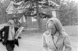 "A scene from the 1968 movie ""Night of the Living Dead.""  The chapel that was recently restored is in the background."