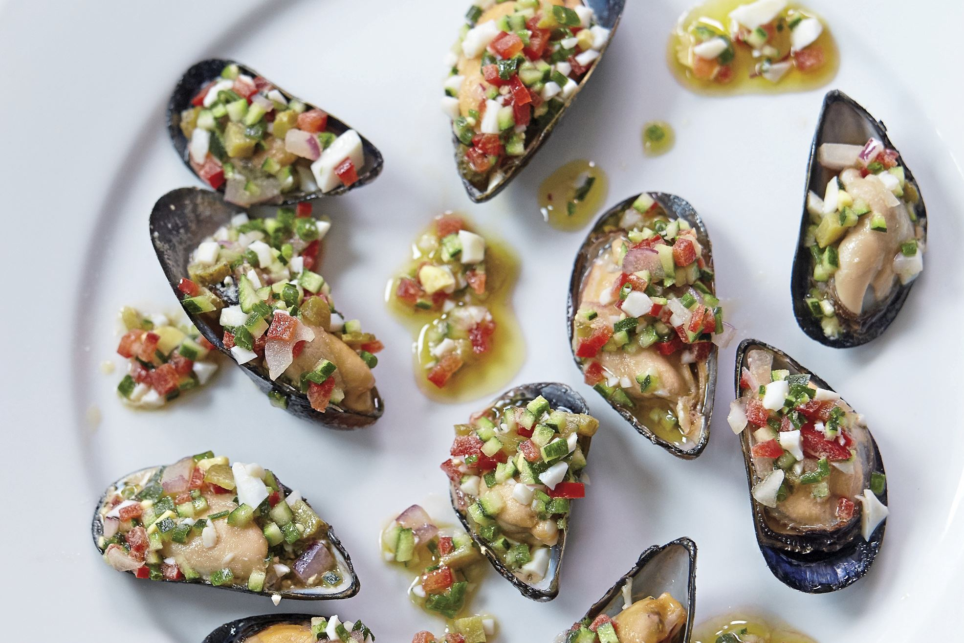 Mussels-2 Mussels with zucchini salsa verde. The salsa can also be served with roasted beef tenderloin, grilled chicken or roasted eggplant.