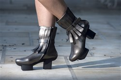 Platform ankle boots in cart steel by Trippen at Maxalto in Shadyside.